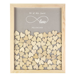 $enCountryForm.capitalKeyWord NZ - Personalised Wooden Drop Top Frame Wedding Guest Book Love Forever Rustic Alternative Unique 60 Or 130pcs Hearts Decor