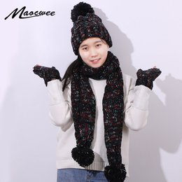 hat scarves glove NZ - Three-piece Set Scarf Hat And Gloves Winter Warm Women Crochet Skullies Beanies PomPon Ball for Knitting Autumn Striped Cap