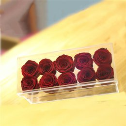 $enCountryForm.capitalKeyWord Australia - Acrylic Transparent Crystal Material Cosmetic Case Holder Rose Flower Box With Lid for Valentine's Day