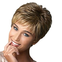 Discount gradient color wig - Fashion Short Curly Wig Haircut Curly Color Gradient Wigs Heat Resistant Fiber Human Hair Synthetic Wig 26cm 2U81204