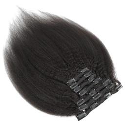 Клип 9 класс Virgin Hair Extensions В человеческом волосе бразильский Перуанский Малазийский Индийские кудрявый 7pieces прямых волосы / комплект 120g Natural Color 1B на Распродаже