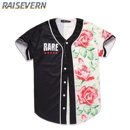 Rose Floral Print Tops Australia - RAISEVERN Men Floral Rose Printed Short Sleeve T-Shirts V-Neck Button Casual Hawaiian Style Male Tees Casual Loose Vacation Tops