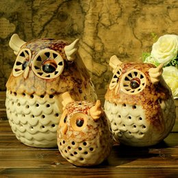 Owl Candles Australia - Creative retro candle lanterns Lovely Owl Candle Light Minimalist Ceramic candlelight Hollowing out stick home decoration