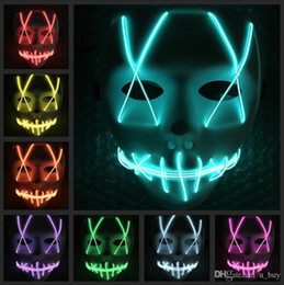 Ghosts Face Mask Australia - LED Halloween Ghost Masks The Purge Movie Wire Glowing Mask Masquerade Full Face Masks Halloween mask Costumes Party mask Gift