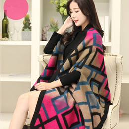 Wholesale poncho patchwork for sale - Group buy Women Patchwork Plaid Poncho Cashmere Scarf Grid Cape Lattice Poncho Wrap Shawl Blanket Cloak Collar Jacket Coat TTA1737