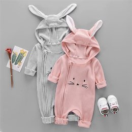 hooded headband Australia - Spring Fall INS Toddler Baby Boys Girls Hoodies Rompers Hooded Jumpsuits Long Sleeve Cat Ears Front Oblique Zippy Newborn Onesies for 0-2T