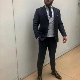 Vest Designs For Men Australia - Black Groom Tuxedos Slim Fit Men Suits for Wedding Grey Vest Notched Lapel Best Man Blazer 3Piece Latest Coat Pants Designs Terno Masculino