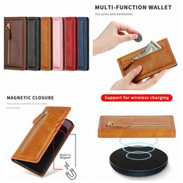 black leather slim wallet NZ - For Samsung Note 10 Plus S10 Plus S10+ Suck Magnetic PU Leather Wallet Case Zipper Slim Closure Flip ID Card Slot Magnet Holder Cover Pouch