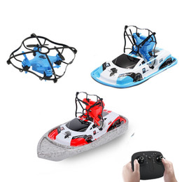 Discount wholesale remote control boats - GW123 Global Drone RC Mini Drone Boat Vehicle Helicopter Mini Aircraft Remote Control Vehicle Toys 3 IN 1 Flying Air Boa