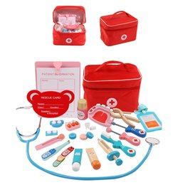 doctor kits UK - Wooden Kids Toys Doctor Toy Set Role-playing Games Girls Games Doctor's Recruitment Toys For Girls Cloth Bag Packing Medical Kit
