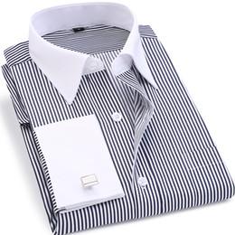 $enCountryForm.capitalKeyWord NZ - High Quality Striped Men French Cufflinks Casual Dress Shirts Long Sleeved White Collar Design Style Wedding Tuxedo Shirt 6XL