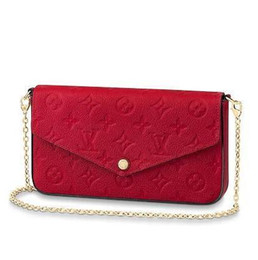 China M63700 POCHETTE FÉLICIE Embossing rose red Real Caviar Lambskin Chain Flap Bag LONG CHAIN WALLETS KEY CARD HOLDERS PURSE CLUTCHES EVENING supplier twist cartoon suppliers