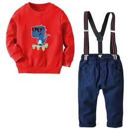 Clothes 12 18 Months Australia - Cotton boys designer clothes 18 24 months boys Clothing Sets kids designer clothes boys Suit Sweater+ suspender trousers Boy Suit A2428