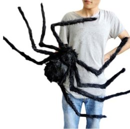 black plush spiders Australia - Super big plush spider made of wire and plush black and multicolour style for party or halloween decorations 1Pcs 30cm,50cm,75cm