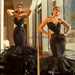 ruffled bottom dresses NZ - Gorgeous Black Mermaid Prom Dresses Spaghetti Straps Appliques Tight Bottom Organza Ruffles Formal Evening Gowns 2019 Black Girl Prom Dress