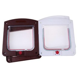 wholesale house products 2019 - Pet Cat Puppy Dog Gates Door Lockable Safe Flap Door Kitten Pet safety products Lock Suitable for Any Wall or cheap whol