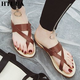 $enCountryForm.capitalKeyWord Australia - HTUUA 2019 Fashion Cross-tied Flip Flops Women Slippers Outside Flat Slides Summer Beach Shoes Black White Plus Size 34-43 S2628