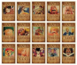 Discount kids room cartoon - Luffy One Piece Wanted Poster Anime One Piece Wanted Poster Vintage Poster Kraft Paper Decorative Painting Paper Posters