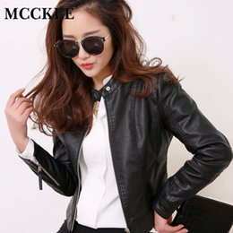 $enCountryForm.capitalKeyWord Australia - MCCKLE Women's Zippers Short PU Leather Jackets Woman O-Neck Motorcycle Biker Outwear 2018 Autumn Korean Female Slim Jacket