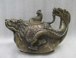 Antique Old Chinese Pure Brass Lion Head Water Bottle Teapot Shipping Free Statues & Sculptures