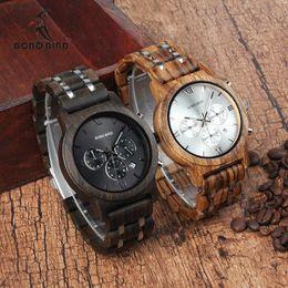 $enCountryForm.capitalKeyWord Australia - Bobo Bird Wooden Watch Men Relogio Masculino Wood Metal Strap Chronograph Date Quartz Watches Luxury