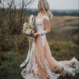 $enCountryForm.capitalKeyWord NZ - Champagne Beach Boho Wedding Dresses A Line Sweetheart Neckline Illusion Long Sleeve Tulle Sweep Train Applique Lace Wedding Bridal Gowns
