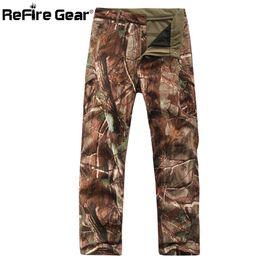 Full Military Gear Australia - Refire Gear Winter Shark Skin Soft Shell Tactical Military Camouflage Pants Men Windproof Waterproof Warm Camo Army Fleece Pants J190417