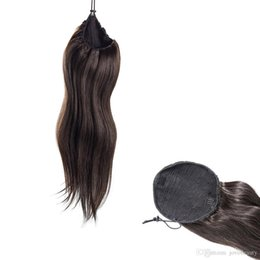 Venta al por mayor de India Natural Negro Recta Virgen Cordón Cola de caballo Cola de caballo 14 a 30 pulgadas Tejido Cuerpo Onda Extensiones de cola de caballo de cabello humano real
