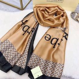 Long Check Scarf Australia - fashion Brand Silk scarf for Women 2019 Summer Designer Full Logo Long Scarves size180x90Cm checked scarf