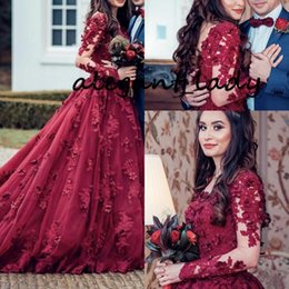 $enCountryForm.capitalKeyWord Australia - Saudi Arabic 3D Flower Lace Evening Dresses 2019 Full Sleeves Vintage Burgundy Beaded Muslim Prom Gowns Plus Size Robe De Mariee