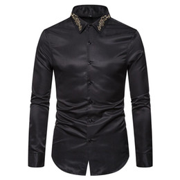 business shirt white NZ - Fall Winter Stand Collar Mens Long-sleeved Dress Shirts Black Red White Slim Elegant Youth Male Business Wedding Formal Shirt