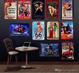 $enCountryForm.capitalKeyWord Australia - Sexy Lady With Car Gas Motor Oil Wall Decor Smooth Ride Retro Metal Signs Pub Bar Home Art Gift Classic Garage Plaques