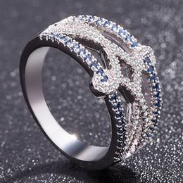 America Brass Australia - Fashion Europe and America Lady Blue White AAA Zircon Wedding Eternity Ring Bridal Wedding Engagement Ring Lady Anniversary Gift