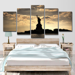 Discount statue liberty wall art - Home Decor Canvas Prints Pictures 5 Piece Statue Of Liberty Paintings Sunset Lady Liberty Poster Living Room Wall Art