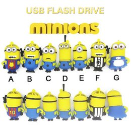 cute usb flash UK - Popular Cute Pendrives Minions USB Flash Drive Memory USB Pen Drive 4GB 8GB 16GB 32GB 64GB USB2.0 Gifts Cle USB Disk 128GB