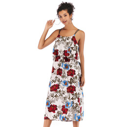 Vintage Design Clothes Australia - 2019 womens clothes printed fashion strap dress European and American style new fashion design backless chiffon skirtn summer dresses skirts