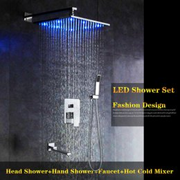 "hot cold water shower tap Canada - High Quality LED Color Changing 8"" 10"" 12"" Brass Rain Bathroom Shower Faucet 3 Way Hot Cold Water Mixer Hand Shower Tap"