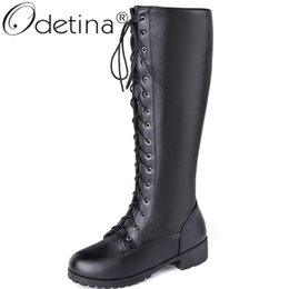 knee high tie up boots Canada - Odetina New Women Round Toe Chunky Low Heel Winter Riding Boots Casual Lace Up Autumn Shoes Ladies Cross Tied Knee High Boots