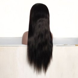 24 Inch Wigs Australia - Indian Women Hair 24 Inch Natural Black Color Full Lace Wig Brazilian Human Hair Lace Front Wig in Stock!