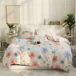 Discount blue floral comforters - New Beauty Floral Pattern Duvet Cover 100% Cotton Quilt Cover Twin Full Queen King Size Comforter Single Double Bedcloth