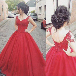 $enCountryForm.capitalKeyWord Australia - 2019 Designer Ball Gown Prom Gowns Vintage Red Tulle Sweetheart Prom Party Dresses For Girl Special Occasion Dress Free Shipping