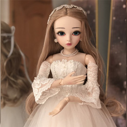 $enCountryForm.capitalKeyWord Australia - 60cm 1 3 Girl Dolls With Wedding Dress Wigs Shoes Makeup 100% Handmade Beauty Toys Silicone Reborn BJD Doll