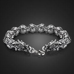sterling silver dragon bracelets NZ - Wholesale European hot sale brand jewelry. Fashion 100% solid 925 silver bracelet for men boys. Retro Thai Silver Dragon Bangle