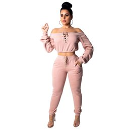 5983de88cdbb Rompers Womens Jumpsuit New Arrival 2019 Workout Clothes Sexy Lace Up Off  Shoulder Long Sleeve 2 Piece Set Skinny Jumpsuit 30