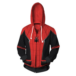China Mens white designer hoodie sweatshirt sweat coat pullover jackets 3D Digital Printing Return Spider-Man Hooded Cardigan Sweater cheap 3xl mens cardigan sweaters suppliers