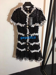 Lace high end skirt online shopping - women girl shirt dress floral lace pearls button crew neck short sleeve a line trumpet mermaid vintage mini skirts high end luxury dresses
