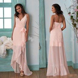 $enCountryForm.capitalKeyWord Australia - Peach Pink Country Long Sleeves Bridesmaid Dresses 2019 Hi-Lo V Neck Chiffon Drapped Plus Size Maid Of Honor Gowns Cheap