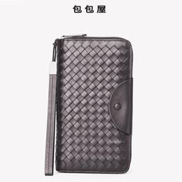Hand pHone organizer online shopping - Elegant2019 Leather Genuine Man Hand Take Package Mobile Phone Fetus Cowhide Long Fund Zipper Weave Wallet