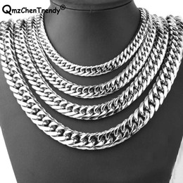 $enCountryForm.capitalKeyWord NZ - 9mm 11mm 13mm 16mm 19mm 21mm Men Chain Silver Color Stainless Steel Cuban Chain Necklace for Men Curb Cuban Link Hip Hop Jewelry