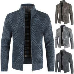 Wholesale knitted outerwear resale online - Mens Jackets knitting Solid Color Sweater Coat Stand Collar Thickening Cardigan Lapel Retro Keep Warm Fashion Outerwear Jackets M XL